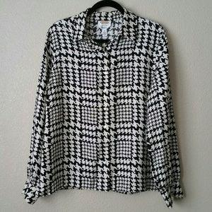 Talbot's Black White Silk Blouse
